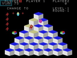 In-game screen of the game Q-bert on Coleco Industries Colecovision
