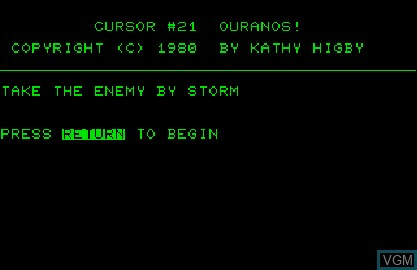 Title screen of the game Cursor 21 - Ouranos! on Commodore PET