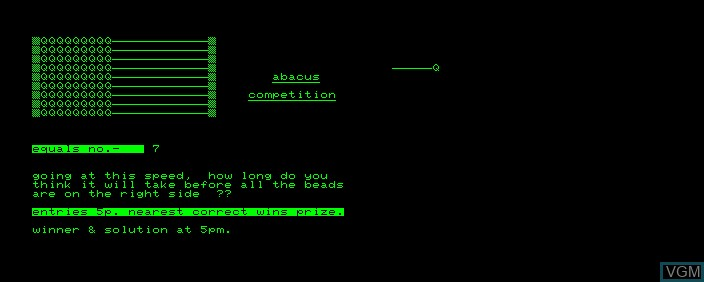 Title screen of the game Abacus Competition on Commodore PET