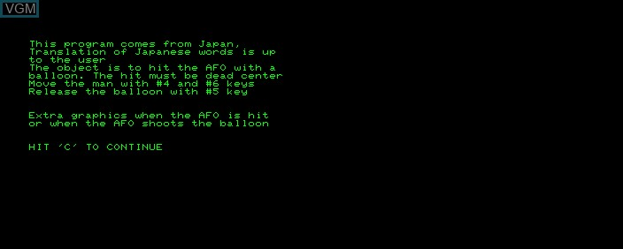 Menu screen of the game AFO on Commodore PET