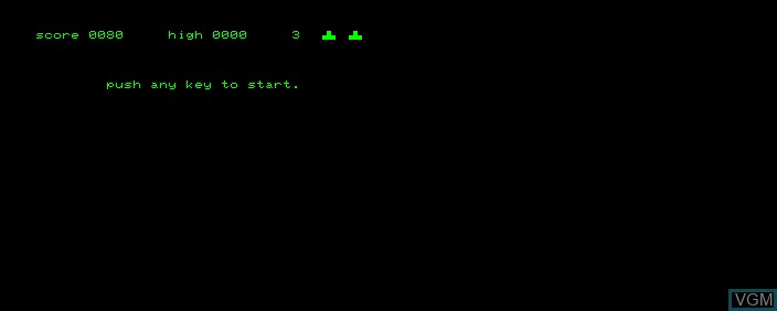 Menu screen of the game Space Invaders on Commodore PET