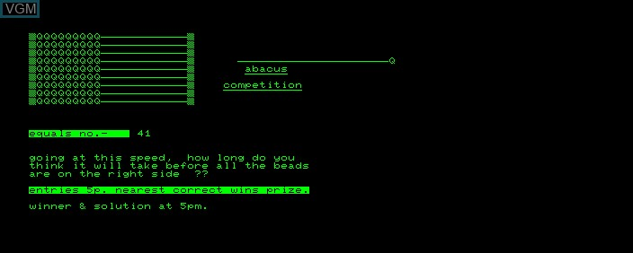 In-game screen of the game Abacus Competition on Commodore PET