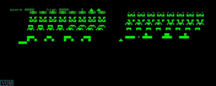 In-game screen of the game Space Invaders on Commodore PET