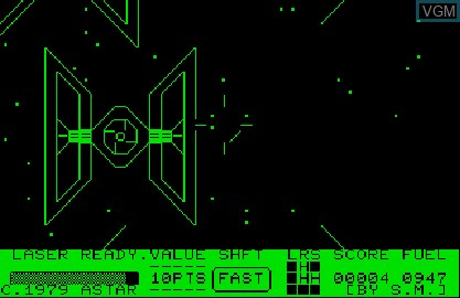 In-game screen of the game Star Wars on Commodore PET