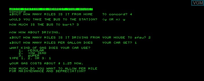 In-game screen of the game Bart Economy on Commodore PET
