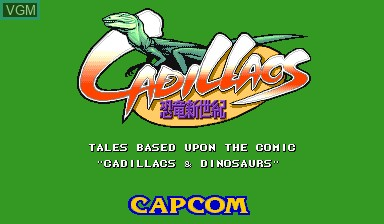 Title screen of the game Cadillacs Kyouryuu-Shinseiki on Capcom CPS-I