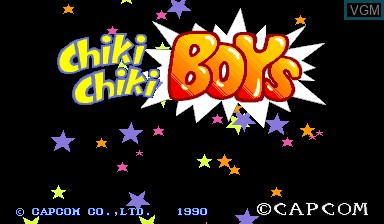 Title screen of the game Chiki Chiki Boys on Capcom CPS-I