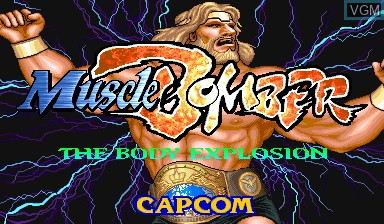 Title screen of the game Muscle Bomber - The Body Explosion on Capcom CPS-I