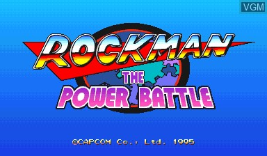 Title screen of the game Rockman - The Power Battle on Capcom CPS-I