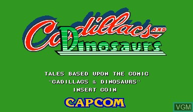Title screen of the game Cadillacs and Dinosaurs on Capcom CPS-I