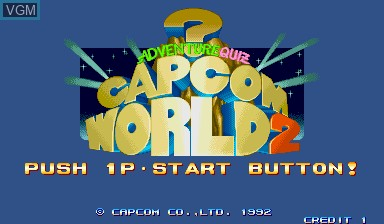 Title screen of the game Capcom World 2 on Capcom CPS-I