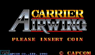Title screen of the game Carrier Air Wing on Capcom CPS-I