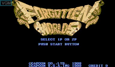 Title screen of the game Forgotten Worlds on Capcom CPS-I