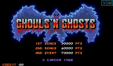 Title screen of the game Ghouls'n Ghosts on Capcom CPS-I