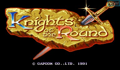 Title screen of the game Knights of the Round on Capcom CPS-I