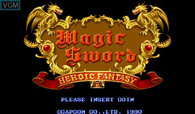 Title screen of the game Magic Sword - Heroic Fantasy on Capcom CPS-I
