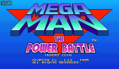 Title screen of the game Mega Man - The Power Battle on Capcom CPS-I