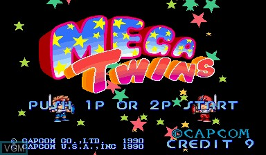 Title screen of the game Mega Twins on Capcom CPS-I