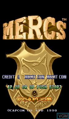 Title screen of the game Mercs on Capcom CPS-I