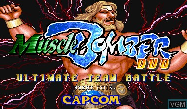 Title screen of the game Muscle Bomber Duo - Ultimate Team Battle on Capcom CPS-I