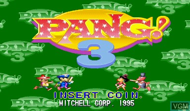 Title screen of the game Pang! 3 on Capcom CPS-I
