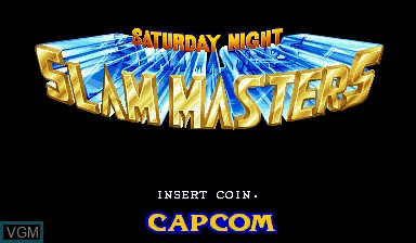 Title screen of the game Saturday Night Slam Masters on Capcom CPS-I