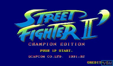 Title screen of the game Street Fighter II' - Champion Edition on Capcom CPS-I