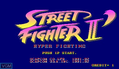 Title screen of the game Street Fighter II' - Hyper Fighting on Capcom CPS-I