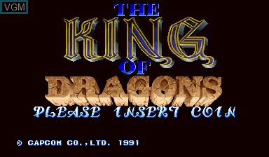 Title screen of the game The King of Dragons on Capcom CPS-I