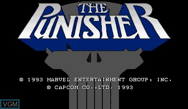 Title screen of the game The Punisher on Capcom CPS-I