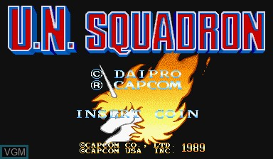 Title screen of the game U.N. Squadron on Capcom CPS-I