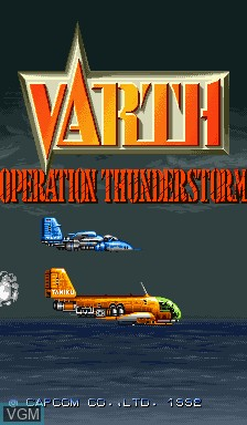 Title screen of the game Varth - Operation Thunderstorm on Capcom CPS-I