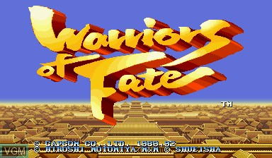 Title screen of the game Warriors of Fate on Capcom CPS-I