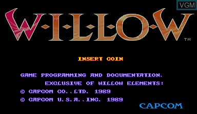 Title screen of the game Willow on Capcom CPS-I