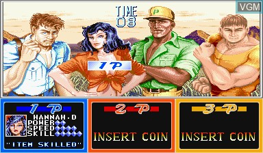 Menu screen of the game Cadillacs and Dinosaurs on Capcom CPS-I