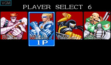 Menu screen of the game Captain Commando on Capcom CPS-I