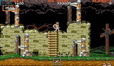 Menu screen of the game Ghouls'n Ghosts on Capcom CPS-I