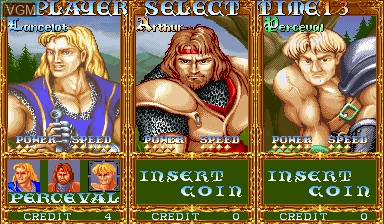Menu screen of the game Knights of the Round on Capcom CPS-I