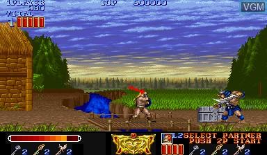 Menu screen of the game Magic Sword - Heroic Fantasy on Capcom CPS-I