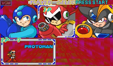 Menu screen of the game Mega Man - The Power Battle on Capcom CPS-I
