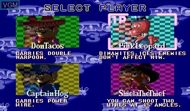 Menu screen of the game Pang! 3 on Capcom CPS-I