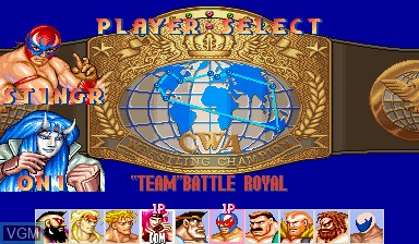 Menu screen of the game Saturday Night Slam Masters on Capcom CPS-I