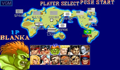 Menu screen of the game Street Fighter II' - Champion Edition on Capcom CPS-I