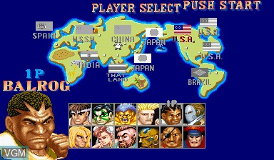 Menu screen of the game Street Fighter II' - Hyper Fighting on Capcom CPS-I