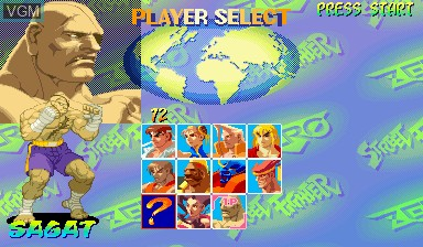 Menu screen of the game Street Fighter Zero on Capcom CPS-I