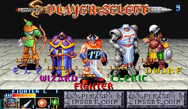 Menu screen of the game The King of Dragons on Capcom CPS-I