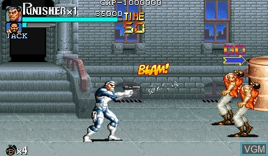 Menu screen of the game The Punisher on Capcom CPS-I