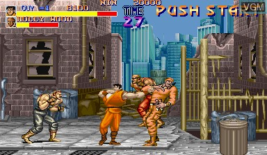 In-game screen of the game Final Fight on Capcom CPS-I