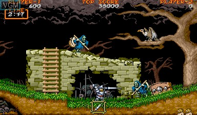 In-game screen of the game Ghouls'n Ghosts on Capcom CPS-I
