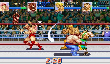 In-game screen of the game Muscle Bomber Duo - Ultimate Team Battle on Capcom CPS-I